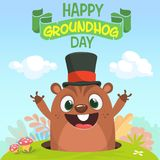 Cartoon marmot groundhog in major hat. Vector illustration. Groundhog day. Party invitation poster or postcard with lettering. Typography vector illustration