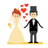 Cartoon Marriage Couple Fiance And Bride Wear Wedding Dress Holding Hands. Flat Vector Illustration Royalty Free Stock Photo