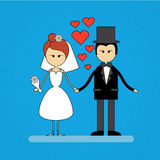 Cartoon Marriage Couple Fiance And Bride Wear Wedding Dress Holding Hands. Vector Illustration Royalty Free Stock Image