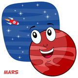 Cartoon Mars Planet Character. A happy cartoon planet Mars character smiling, on a blue outer space background with bright stars and a rocket flying. Eps file Royalty Free Stock Photos