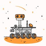 Cartoon Mars rover. Cute cartoon drawing of Mars rover. Space exploration vector illustration
