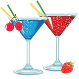 Martini Glasses with Fruity Cocktails. Cartoon Martini Glasses with Fruity Colorful Cocktails Red Fresh Berries stock illustration