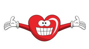 Cartoon mascot heart big smile isolated. On white Stock Photos