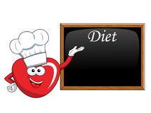 Cartoon mascot heart cook diet blackboard or chalkboard isolated. On white Stock Photos