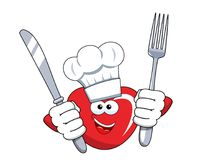 Cartoon mascot heart cook fork and knife isolated. On white Stock Photography