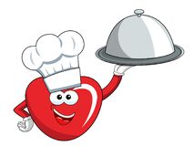 Cartoon mascot heart cook silver tray isolated. On white Royalty Free Stock Photo