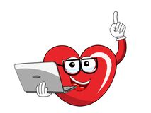 Cartoon mascot heart glasses computer laptop isolated. On white Royalty Free Stock Photos
