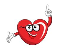 Cartoon mascot heart glasses finger up isolated. On white Royalty Free Stock Photography
