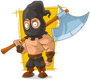 Cartoon masked executioner with big axe Stock Photo