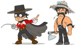Cartoon masked hero and farmer characters set Stock Image