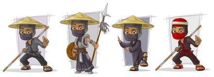 Cartoon masked ninja warriors character vector set Royalty Free Stock Image