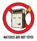 Cartoon matches box. Matches are not toys. Matches in a matchbox. Stock Photo