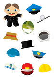 Cartoon matching game with finding proper hats to occupation - chimney sweep Royalty Free Stock Image