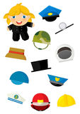 Cartoon matching game with finding proper hats to occupation - chimney sweep girl Stock Photography