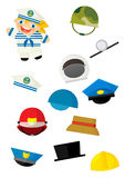 Cartoon matching game with finding proper hats to occupation - doctor girl Stock Photography