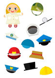Cartoon matching game with finding proper hats to occupation - doctor girl Royalty Free Stock Images