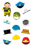 Cartoon matching game with finding proper hats to occupation - fireman. Beautiful colorful illustration caricature for the children for different usage Stock Photography