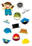 Cartoon matching game with finding proper hats to occupation - gardner girl Royalty Free Stock Photos