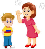Cartoon Mather scolding her son Stock Photography
