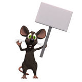 Cartoon maus with a blank sign Royalty Free Stock Photography