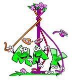Cartoon May Day pole. Cartoon caricature of may graphic wrapping around a maypole Stock Image