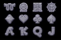 Cartoon MAYA Slots stone icons. Ancient Mexican mythology Vector symbols. American aztec, mayan culture native totem. Game casino, slot, UI. Icons on separate stock illustration