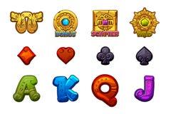 Cartoon MAYA Slots stone icons. Ancient Mexican mythology Vector symbols. Game casino, slot, UI. Set Icons on separate layers vector illustration