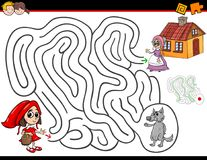 Cartoon maze activity with little red riding hood. Cartoon Illustration of Education Maze or Labyrinth Activity Game for Children with Little Red Riding Hood stock illustration