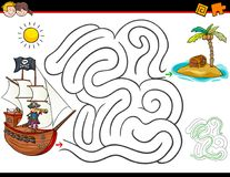 Cartoon maze activity with pirate and treasure Royalty Free Stock Image