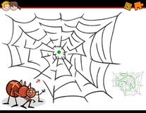 Cartoon maze activity with spider and web Stock Photos