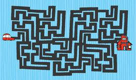 Cartoon maze from car to house Royalty Free Stock Images
