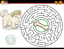 Cartoon maze game with dog and bone stock images