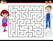 Cartoon maze game with girl and boy stock image
