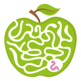 Cartoon maze game for kids Num.04 Worm with apple labyrinth vector puzzle illustration Stock Photography