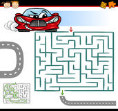 Cartoon maze or labyrinth game. Cartoon Illustration of Education Maze or Labyrinth Game for Preschool Children with Funny Car Royalty Free Stock Images