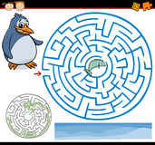 Cartoon maze or labyrinth game. Cartoon Illustration of Education Maze or Labyrinth Game for Preschool Children with Funny Penguin and Fish Stock Photos