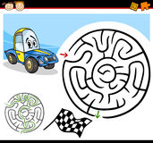 Cartoon maze or labyrinth game. Cartoon Illustration of Education Maze or Labyrinth Game for Preschool Children with Funny Racing Car Character Royalty Free Stock Photography