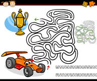 Cartoon maze or labyrinth game. Cartoon Illustration of Education Maze or Labyrinth Game for Preschool Children with Racing Car and Gold Cup Stock Photo