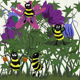 Cartoon meadow and bees Stock Images