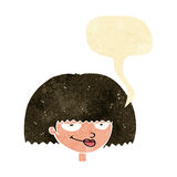Cartoon mean female face with speech bubble Royalty Free Stock Photo