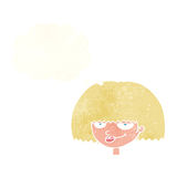 cartoon mean female face with thought bubble Royalty Free Stock Images