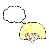 cartoon mean female face with thought bubble Stock Photo