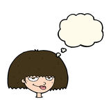 Cartoon mean female face with thought bubble Royalty Free Stock Image