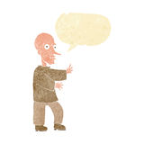 Cartoon mean looking man with speech bubble Royalty Free Stock Photo