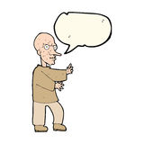 Cartoon mean looking man with speech bubble Royalty Free Stock Image