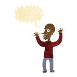 Cartoon mean man with speech bubble Royalty Free Stock Images