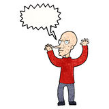 Cartoon mean man with speech bubble Royalty Free Stock Photography