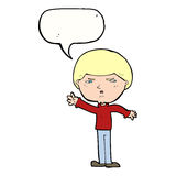 Cartoon mean man with speech bubble Stock Image