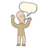 Cartoon mean man with speech bubble Royalty Free Stock Photos