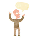 Cartoon mean man with speech bubble Stock Images